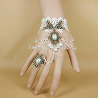 Vintage white lace Bracelets Bride wristbands Court balls Accessories Retro Gothic Lolita cosplay jewelry