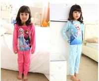 2014 Cute children's cotton sleepwear nightwear kids frozen pajamas for little baby girls free shipping
