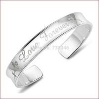 2014 Christmas Gift, 925 Silver Rose Bangle Bracelet, Hot female models one thousand fine silver fashion bracelet, free shipping