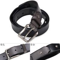 Original High Quality Real Genuine Leather Belt For Men Cowskin Pin Buckle Split Joint Black 140034901