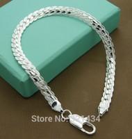 Unisex 8 inches Fashion womens mens women Jewelry 925 sterling Silver Bracelet Snake Chain Link Bracelets Bangles gift box BL34