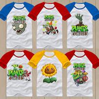 Summer Plants vs Zombies T-shirt 100% cotton Children's clothes Children Plants vs zombies short-sleeve T-shirt