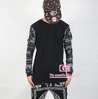 Hip Hop Fashion Long Sleeve Men T Shirts / Classic Cashew Flowes Print Cotton Men Pullover / Black White M-3XL