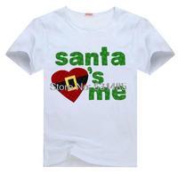 Christmas Santa Loves Me Tee t shirt for kid Boy Girl clothing  top  clothes cartoon tshirt Dress