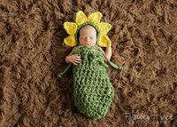 Fashion Baby Sets Outfits Crochet Sunflower Handmade Newborn Photography Props Hats Caps Sleepbag