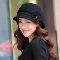 New Arrival autumn and winter women Woolen beret  lady flower  fashion cap gentlewomen fashion cap thermal painter cap
