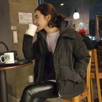 2014 Korea retro woolen stitching down cotton jacket collar jacket big yards Slim new winter coat female 9927