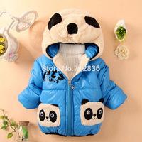 Retails 1PC (0-2Yrs) children kids toddlers baby Boy's Winter Fleece lining Jackets Panda padded Coat &Outwear freeshipping