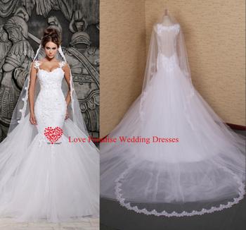 Настоящее модель 2015 самая низкая цена белого кружева и видеть сквозь русалка свадебные платья с съемный поезд свадебные платья тюль