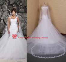 Verdadeiro modelo 2015 menor preço laço branco e ver através sereia vestidos de casamento com removível Train nupcial vestidos Tulle(China (Mainland))