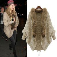 2014 New Winter Women's Ladies Loose Fur Collar Sweater With Shawl Poncho Ruana Batwing Sleeve Knit Cardigan Jacket Coat