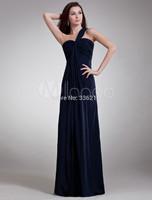 Elegant Dark Navy Chiffon Long Bridesmaid Dress with Cascading Ruffle One-Shoulder vestido de festa