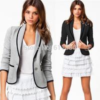 Winter Jacket Women 2014 Autumn New Women's Coats Full Sleeve Single Breasted Jackets Coat For Women Cotton Slim Casual Suit