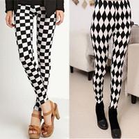 2014 New Black Milk Skinny Leggings For Girls Sexy Geometric Design Leggins Woman Plaid Printed Jeggings Pants Hot Sale L23