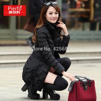 2014 winter women's cotton-padded jacket elegant slim medium-long  wadded jacket 3D flower