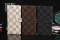 "Mixed color cases Luxury Brand Grid Wallet for Apple iphone6 Plus 5.5 case for iphone6 4.7"" Mobile Phone Bags hard Shell Housing"