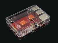 Red Raspberry Pi Model B+ with Case G + heat sinks