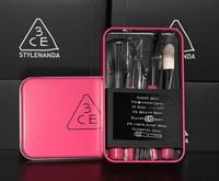 brand 7pcs powder brush Tin box makeup brush 3ce mini brush kit