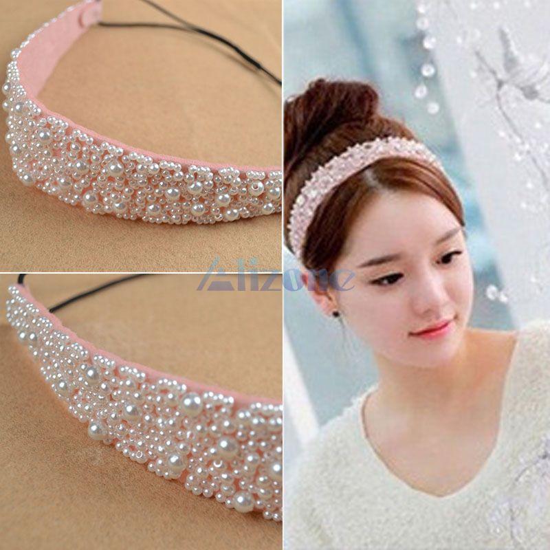 Luxury Lady's Pearl Beads Crystal Headhand Hairband Elastic Hair Accessories Headband#65973(China (Mainland))