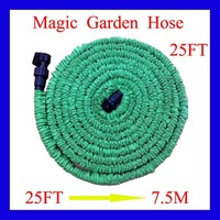 Free Shipping 25FT Hose Expandable Flexible WATER GARDEN Pipe Green/blue Water valve With US connector seen on TV(no spray gun)