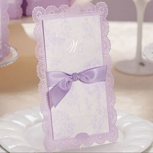FedEx DHL UPS EMS Free Shipping 100Pcs /Lot Customized Lilas Purple Exquised  Lace  Wedding Invitations Cards With Envelope