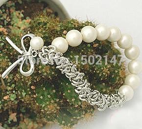 2014 HOT fashion Pearl bow Bracelet Bai Zhu Silver gold Bow women s bracelet free shipping