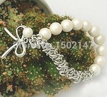 2014 HOT fashion Pearl bow Bracelet (Bai Zhu + Silver Bow) women's bracelet free shipping