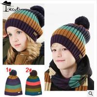 Children Winter Caps Hot Sale Acrylic Hats Patchwork Skullies Striped Kids Warm Beanies Big Size 21*29cm Baby Boy Hat MZ1078