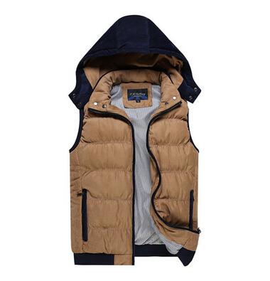 Бесплатная доставка мужская зимняя мода тонкий хлопок тепловой с капюшоном жилет 6 цвета