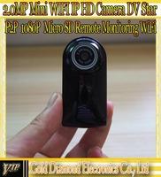 2014 New Mini WiFi IP HD Camera H.264 1.0MP P2P Remote monitoring Micro SD IP Camera Car DVR Retail box Free ShippingQR Code