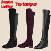 Genuine Leather Women Over The Knee High Suede Boots Top Designer Winter Autumn Platform Ladies Wedge Fashion Brand Long Shoes