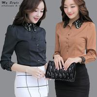 Korean Style Fashion Elegant Work Wear Tops Long Sleeve Office Shirts Ladies Blouses Female 2014 Plus Size Women Clothing 2146