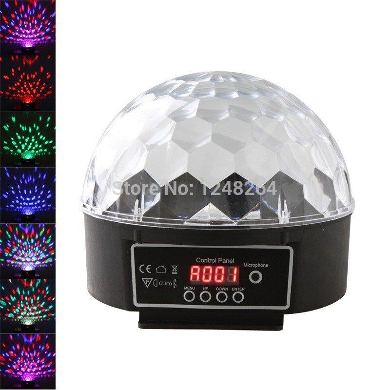DMX512 Disco DJ Stage Lighting Digital LED RGB Crystal Magic Ball Effect Light 6 LED, Free Shipping(China (Mainland))