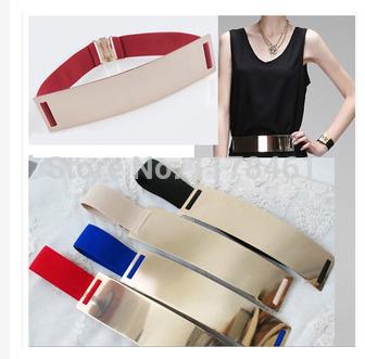 2014 nuovo!!!! Europe& America specchio di metallo oro nastri viso per sexy donne cinture abbigliamento accessori cinghie elastiche spedizione gratuita