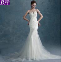 Winter 2014 slit neckline half sleeve Fish tail wedding dress Formal dress short trailing lace Slim waist vestido de noiva
