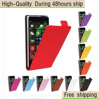 Genuine Leather Vereical Slim Flip Case Cover for Nokia Lumia 830