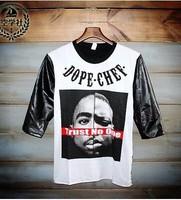 Fashion Brand Men 3D T Shirts 2PAC B.I.G Trust No One SAMARA 23 Tee Hip-hop PU Leather Sleeve T-Shirts Summer  tees M-XL