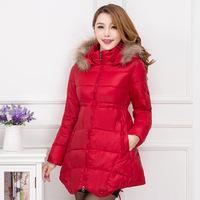 2014 Women Korean jacket and long sections Slim A word raccoon Nagymaros collar down jacket women new cloak