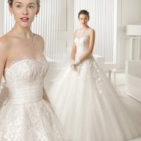 Slit neckline wedding dress 2014 winter lace vintage bridal strap Plus size short trailing wedding dress vestidos salomon