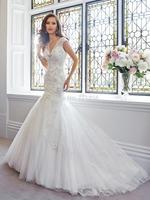 SW40 New Design 2014 casamento Sexy V-Neck Lace Applique Long Mermaid Bodice Modern Wedding Dress Vestidos de Noiva