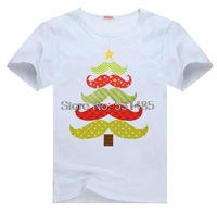 Christmas Mustache Tree Cute Baby Christmas Outfit Tee t shirt for kid Boy Girl clothing  top  clothes cartoon tshirt Dress