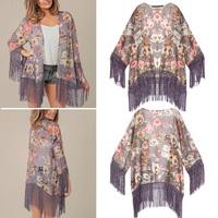 2014 Women's Vintage Boho Floral Print Flower Tassels Hem Loose Kimono Bat Sleeve Cardigan Mid Long Shirts Cloak Blouses Top NEW