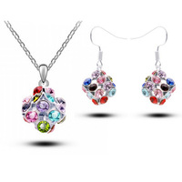 Necklace+Earring,Wholesale White Gold Plated Colorful Ball Austrian Crystal fashion Jewelry Sets 2014111326