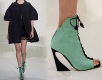 2015 Euro Fashion Designer High Heels Women Pumps Square Toe Summer Autumn Ankle Boots Heels Plus Size Pumps Wedding Shoes Woman
