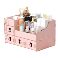 NEW Arrival 5 Colors Cartoon Wood DIY Makeup Organizer Box Cosmetic Jewelry Storage Box Drawer Organizer for Home Office Decor
