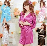 Free Shipping---Hot Sexy Women & Girl Satin Lace Robe Sleepwear Lingerie Nightdress  G-string Pajamas