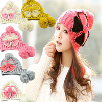 2014 Newest Korean Style Autumn Winter Wool Fashion female/Women Bow cap hat knitted Leopard Caps 6 Colors Gifts