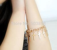 retail free ship style HA024 Fashion Jewelry  Women Metal CROSS Hand Chain finger Bracelets Bangle Chains  Body chain