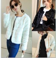 2014 Autumn Winter Womens Overcoat European fashion OL temperament Solid Elmo long sleeve Slim women's short jackets