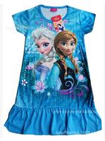 New 2014 Girls Frozen Elsa Dress Frozen Princess Dress Children Kids Cosplay Dress Costumes